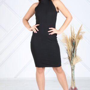 فستان قصير مضلع بدون أكمام نسائي