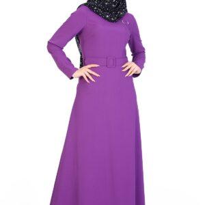 فستان طويل بحزام ومفصل بثقوب نسائي