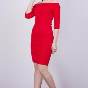 فستان قصير مضلع برقبة بدون أكتاف نسائي