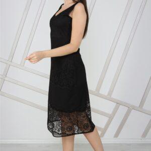 فستان ميدي دانتيل أسود بدون أكمام برقبة V نسائي