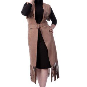 طقم فيست جلد سويدي بيج غامق وفستان ميدي كريب أسود نسائي