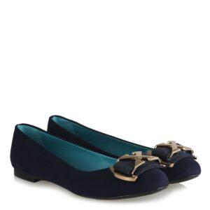 حذاء فلات جلد سويدي كحلي بقفل أصفر نسائي