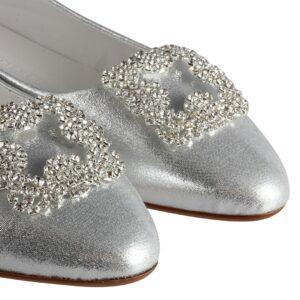 حذاء فلات لامع بفصوص بيضاء نسائي