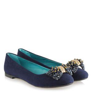 حذاء فلات كحلي بقفل وفصوص نسائي