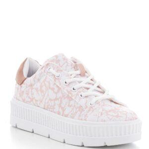 حذاء رياضة أبيض وردي فاتح مزخرف نسائي