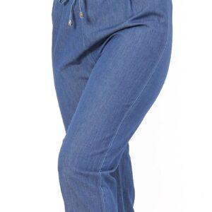 بنطلون جينز أزرق غامق بخصر مرن نسائي