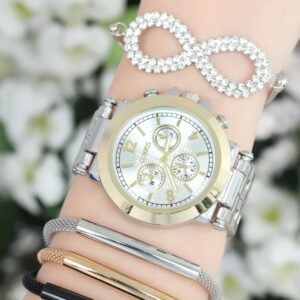 Women's Silver Metal Strap Watch & Bracelet Set