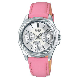 Women's Round Metal Case Pink Strap Watch