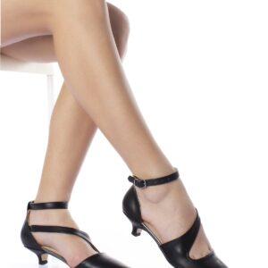 حذاء جلد أسود بكعب منخفض نسائي