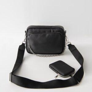 طقم محفظة وحقيبة سوداء بحمالة نسائية