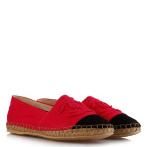 حذاء اسبادريلس قماش أسود فوشيا نسائي