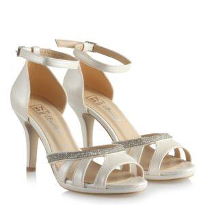 حذاء زفاف بكعب أبيض غامق كلاسيك بفصوص نسائي