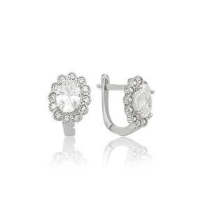 Women's Silver Oval Gemmed Floral Earrings