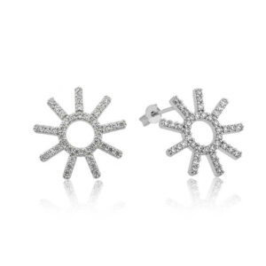 Women's Sun Figure Silver Earrings