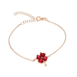 Women's Red Gemmed Clover Figure Rose plated Silver Bracelet