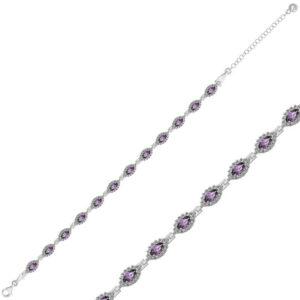 Women's Marcasite Stone Silver Bracelet