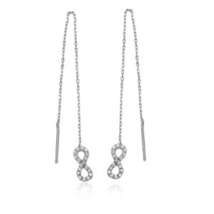 Women's Infinity Figure Silver Chain Earrings