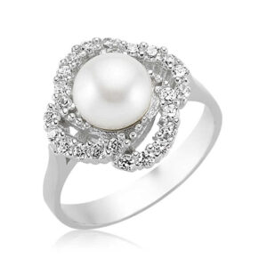 Women's Pearl Silver Ring