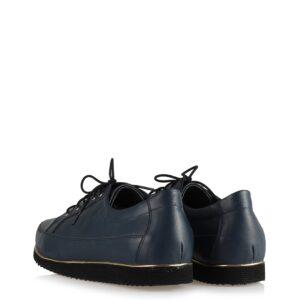 حذاء جلد كحلي برباط نسائي