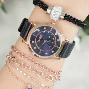 Women's Straw Metal Strap Watch & Bracelet Set