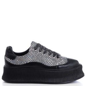 حذاء رياضة فضي أسود مزخرف نسائي