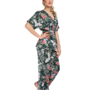 Women's Patterned Green Kimono Set