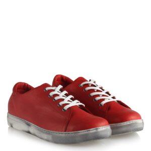 حذاء جلد مريح أحمر برباط نسائي
