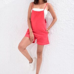 Women's Red Linen Shorts Overall