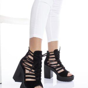 حذاء جلد سويدي أسود بكعب نسائي