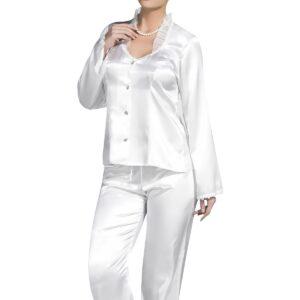 Women's White Satin Pajama Set