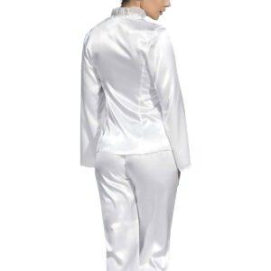 طقم بيجامة ستان أبيض نسائي