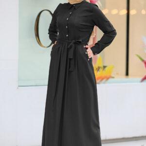 فستان محتشم أسود طويل بأزرار نسائي