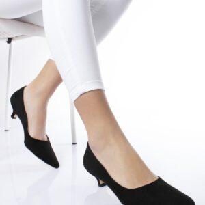 حذاء جلد سويدي أسود بكعب منخفض نسائي