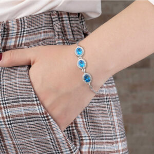 Women's Blue Oval Zircon Gemmed 925 Carat Silver Bracelet