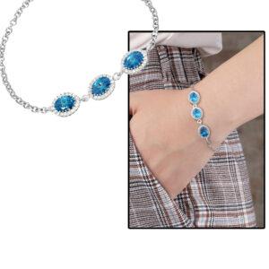 أسورة فضّي بفصوص زركون زرقاء نسائية- 925 عيار