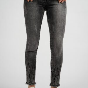 Women's Gemmed Ankle Grey Jeans