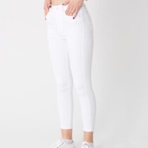 بنطلون جينز أبيض بجيوب نسائي