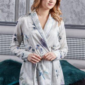 Women's Shawl Collar Floral Pattern Satin Pajama Set
