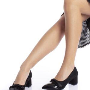 حذاء جلد سويدي أسود مفصل بجلد لامع وكعب نسائي