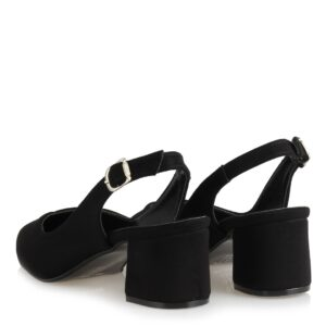 حذاء بكعب بفتحة خلفية أسود نسائي