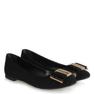 حذاء فلات جلد سويدي أسود بقفل نسائي