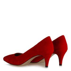 حذاء بكعب منخفض جلد سويدي أحمر نسائي