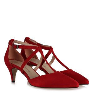 حذاء بكعب جلد سويدي أحمر بحزام نسائي