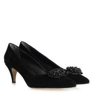 حذاء جلد سويدي أسود بقفل وكعب نسائي