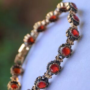 Women's Black Diamond & Ruby Gemstone Bracelet