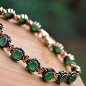 Women's Black Diamond & Emerald Gemmed Bracelet