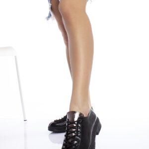 حذاء جلد أسود لامع نسائي