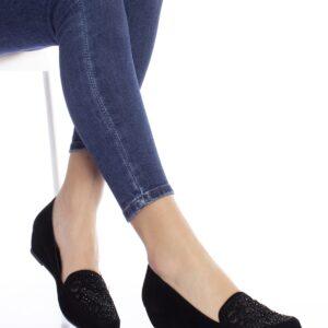 حذاء جلد سويدي أسود نسائي