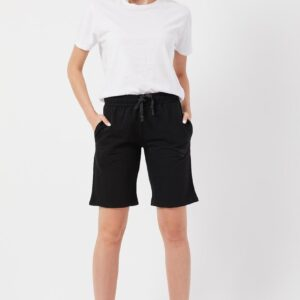Women's Basic Black Knit Bermuda Shorts