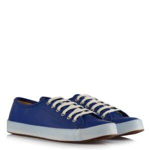 حذاء جلد أزرق فاتح برباط نسائي